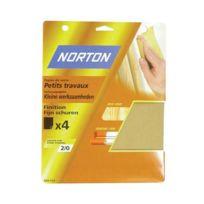 Norton Clipper - 4 feuilles de ponçage NORTON 230 280 à main Papier de verre petits travaux Grain 3 - 63642516120