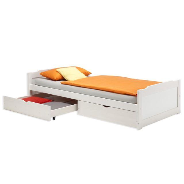 IDIMEX Lit fonctionnel rangements 90 x 200 cm blanc