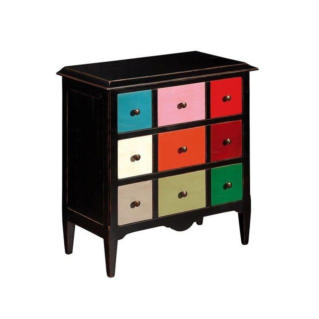tousmesmeubles meuble 9 tiroirs frederique multicolore 38cm x 75cm x 80cm