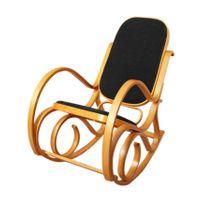 Mendler - Rocking-chair, fauteuil à bascule M41, imitation bois de chêne, assise en similicuir noir