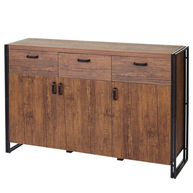 mendler buffet hwc a27 commode bahut armoire 150x100x40cm structure 3d couleur ch ne sauvage. Black Bedroom Furniture Sets. Home Design Ideas