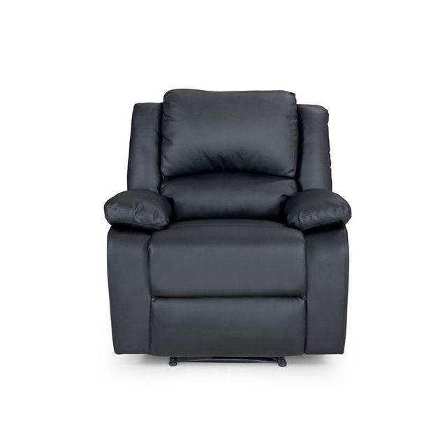 Fauteuil Relaxation 1 place Simili cuir DETENTE - Couleur - Noir bdda35f60dc8