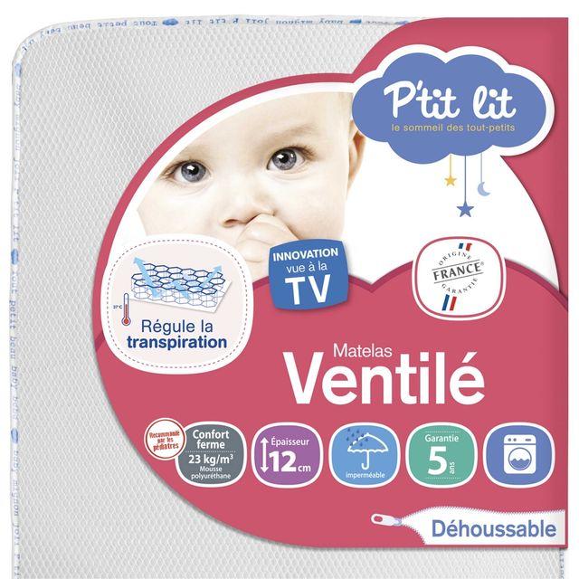 P'TIT Lit Matelas bébé Ventilé + 70 x 140 70 x 140 - Déhoussable
