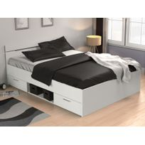 MARQUE GENERIQUE - Lit GASPARD avec tiroirs - 140x190cm - Blanc