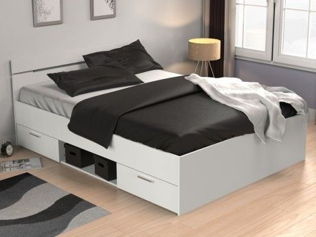 MARQUE GENERIQUE - Lit GASPARD avec tiroirs - 140x190cm - Blanc 140cm x 190cm
