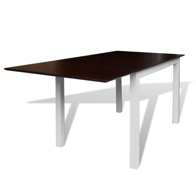 Vidaxl Table extensible marron et blanc 150 cm en bois massif