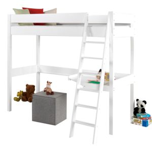 comforium lit mezzanine 90x200 cm en bois h tre massif coloris blanc 90cm x 200cm pas cher. Black Bedroom Furniture Sets. Home Design Ideas