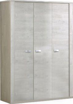 Comforium Armoire 150x202cm à 3 portes coloris chêne blanc