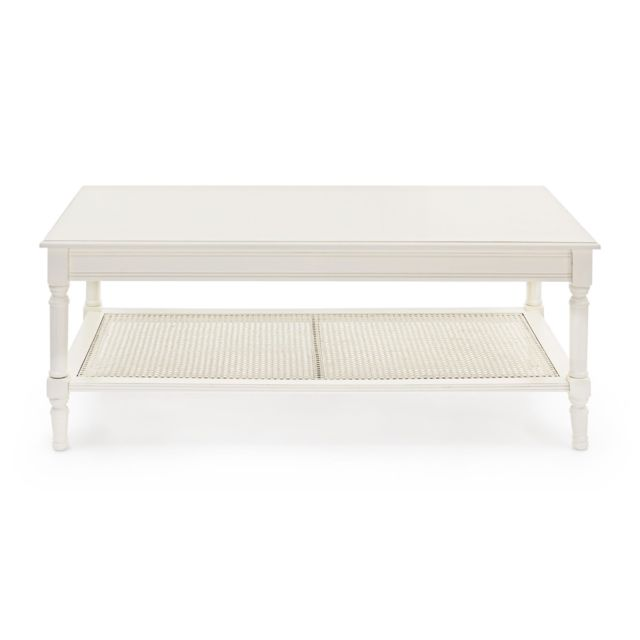 HELLIN Table basse en bois et rotin - ANABEL