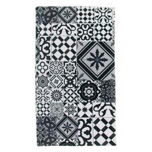 monbeautapis tapis motifs carreaux de ciment noir gris 40x60cm toodoo pas cher achat vente. Black Bedroom Furniture Sets. Home Design Ideas