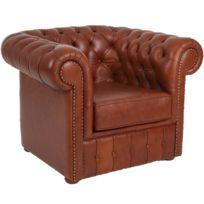 fauteuil cuir marron Achat fauteuil cuir marron pas cher Rue du
