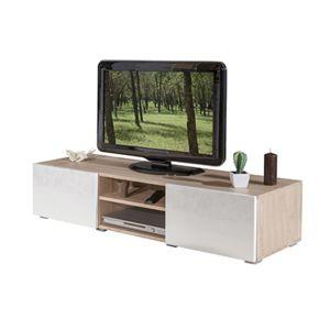 meuble tv ch ne naturel 2 niches 2 tiroirs blanc laqu pas cher achat vente meuble tv. Black Bedroom Furniture Sets. Home Design Ideas