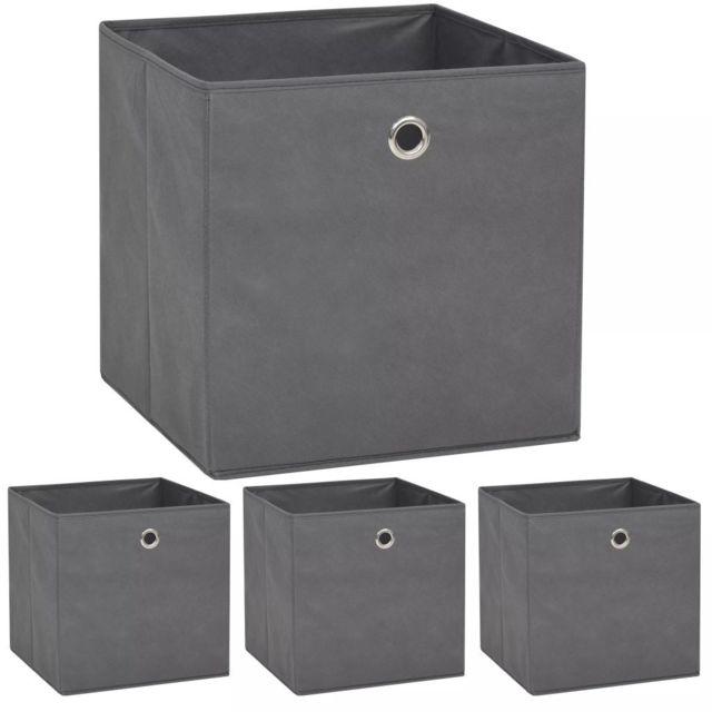 Contemporain Rangement et organisation selection Ottawa Boîte de rangement 4 pcs Tissu non-tissé 32 x 32 x 32 cm Gris