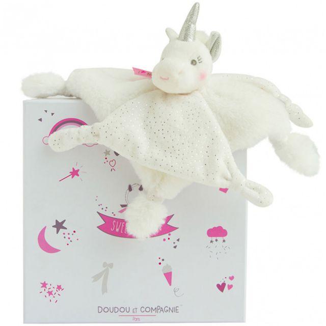 Doudou Et Compagnie - Doudou I Love mon doudou : Licorne argent 22 cm