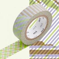 Mt Kamoi Kakoshi - Masking Tape Mt Deco Stripe Checked Green
