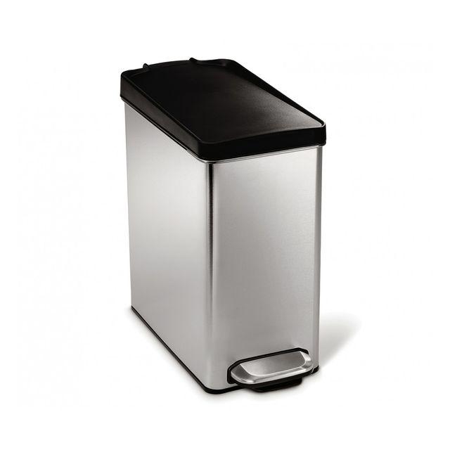 Simplehuman poubelle troite p dale 10l couvercle plastique pas cher achat vente - Poubelle cuisine etroite ...