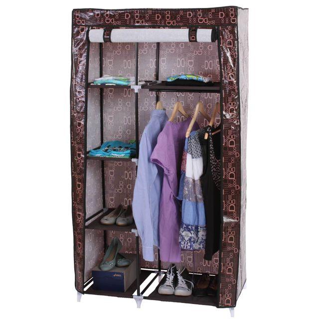 Mendler - Armoire pliable, penderie de camping, garde-robe en tissu, 163x89x43cm Marron - 43cm x 163cm x 89cm