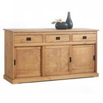 Idimex - Buffet Savona bahut vaisselier commode avec 3 tiroirs et 3 portes coulissantes, en pin massif lasuré brun