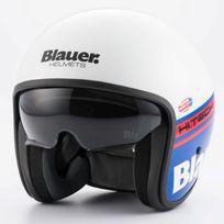 Blauer - casque jet moto scooter Pilot fibre blanc bleu rouge brillant Xl