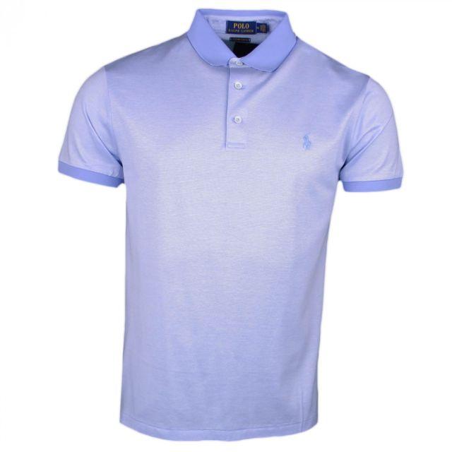 d96e13021a698d Ralph Lauren - Polo jersey bleu micro rayures ton sur ton pour homme - pas  cher Achat   Vente Polo homme - RueDuCommerce