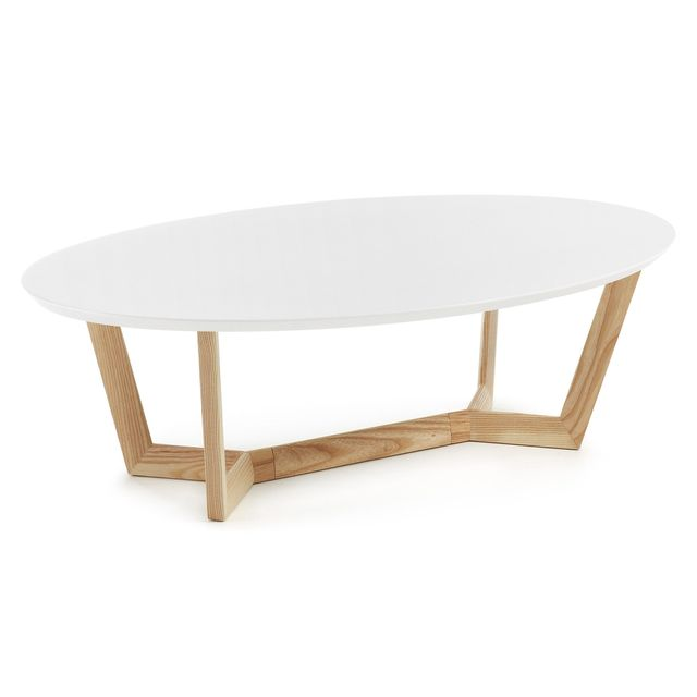 Kavehome Table basse Wave, frene et blanc