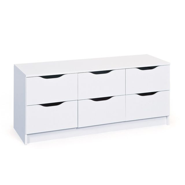 Altobuy Jenny Blanc - Commode 6 Tiroirs