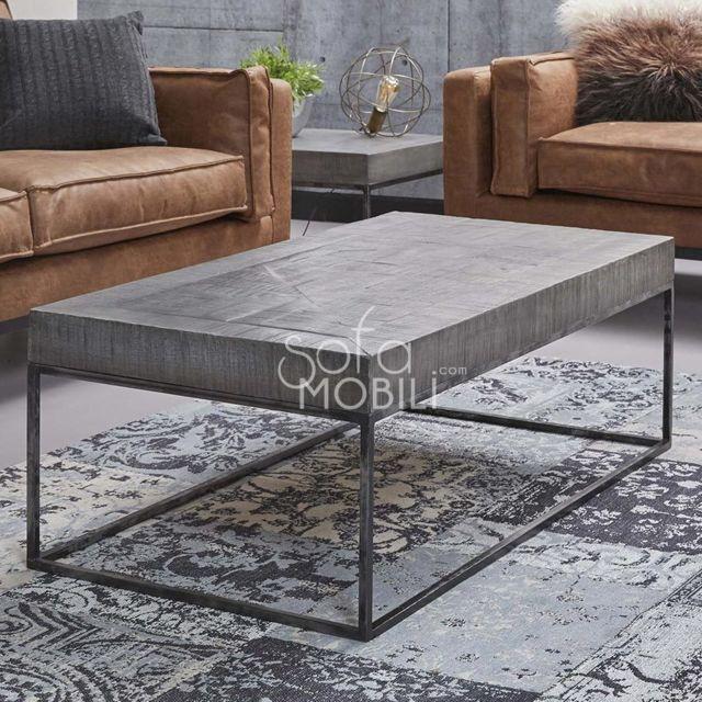 Sofamobili Table basse rectangulaire en bois massif Benita 2