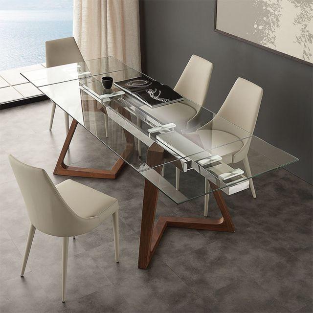 Nouvomeuble Table extensible en verre et bois design Tosca