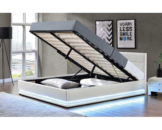 fournier decoration jupiter lit coffre pu blanc a led 140x190 cm pas cher achat vente. Black Bedroom Furniture Sets. Home Design Ideas