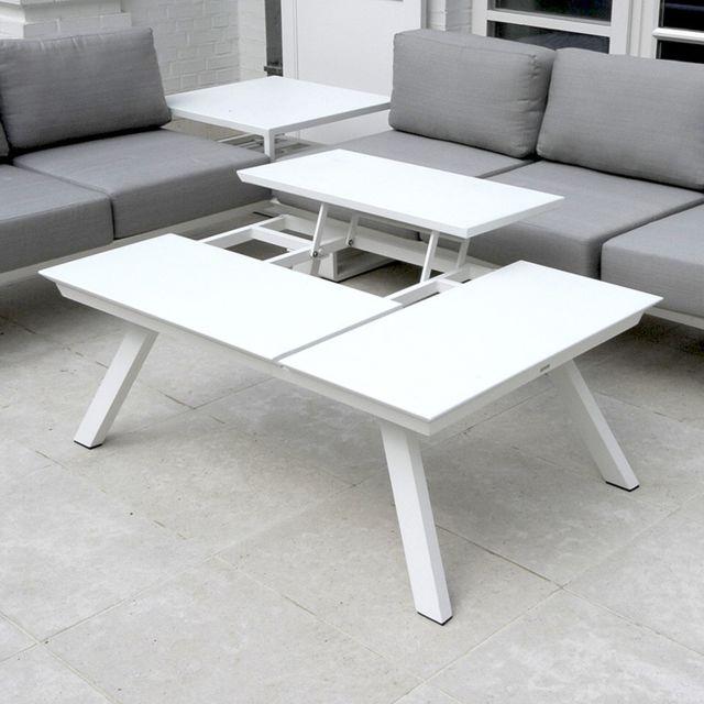 Table basse alu blanc 3 plateaux relevables Kiona