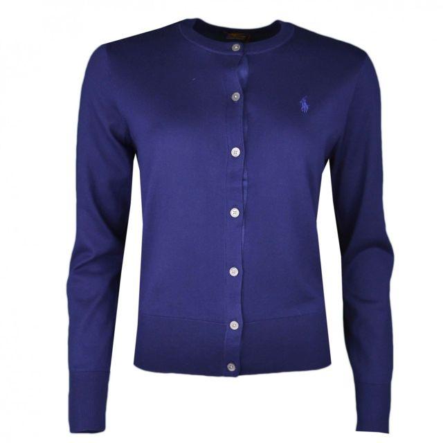 Ralph Lauren - Gilet col rond Ralph Lauren bleu marine à boutons pour femme 8902944e6988