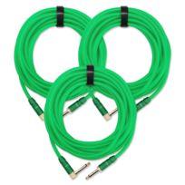 Pronomic - 3x Set Trendline Inst-6NG câble à instrument 6 m vert