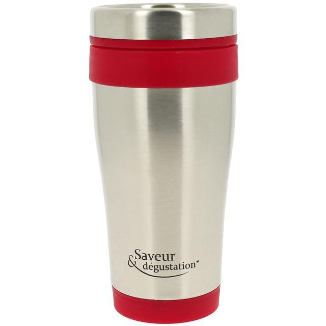 Promobo Mug Américain Isotherme Tasse de Transport Design inox Rouge 400Ml
