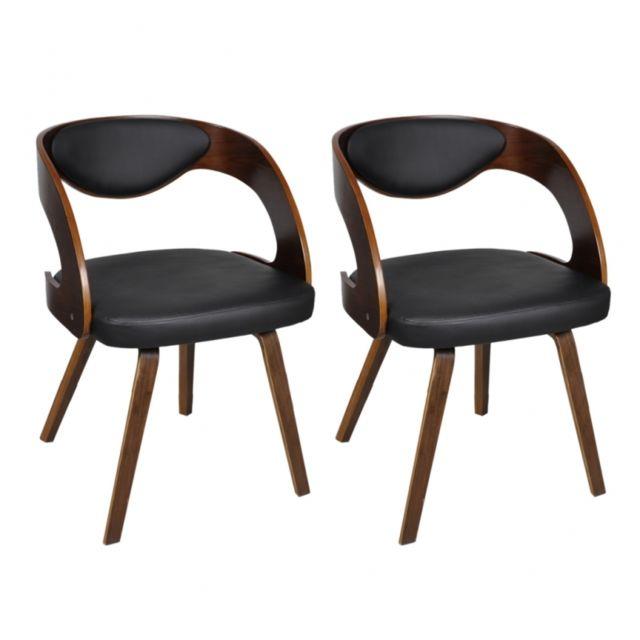 Autre 2 Chaises de cuisine salon salle à manger design noir bois 1902044