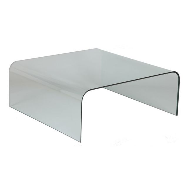 Tousmesmeubles Table basse carrée en verre - Bright