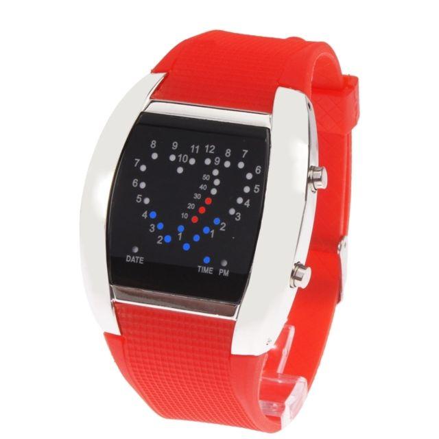 Wewoo - Montre Led rouge de   montre-bracelet Digital de lumière bleue et  avec b6a3d80ac3e