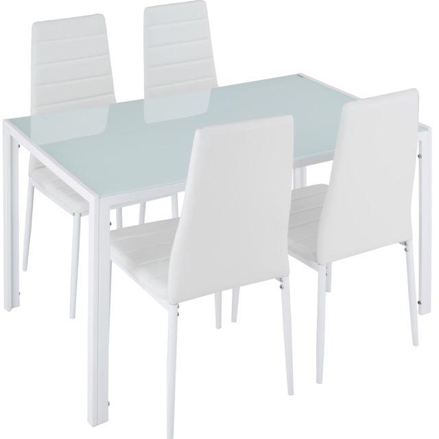 TECTAKE Set Table à manger + 4 Chaises de Salle à Manger Structure en Acier Blanc