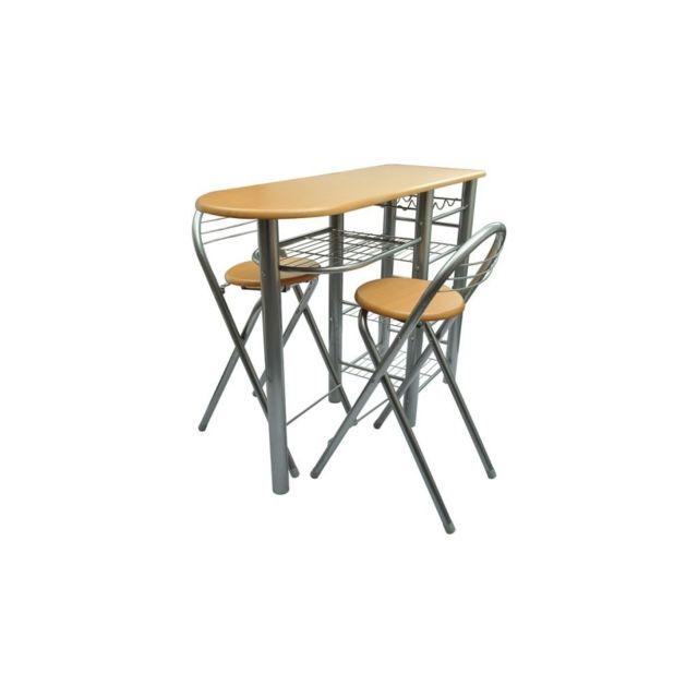 Sans Marque Lot d'une table de bar avec 2 chaises