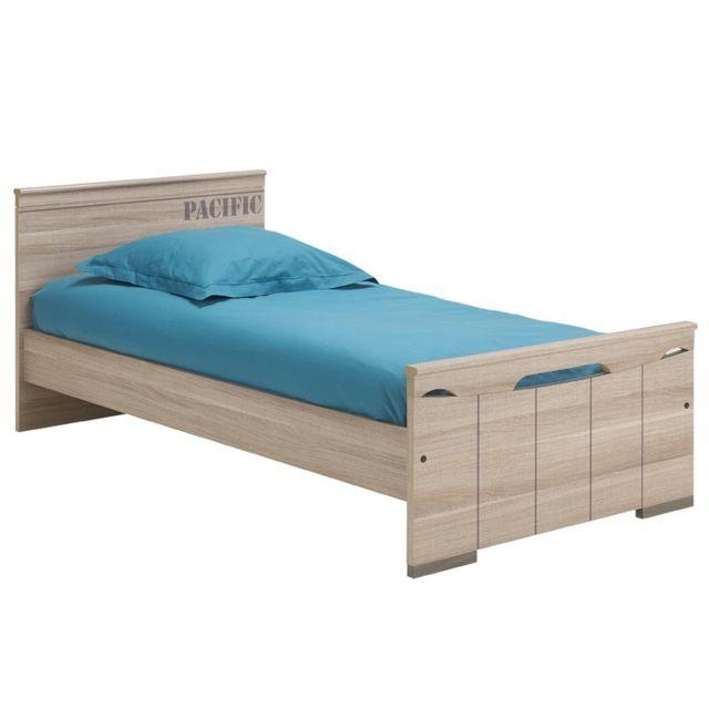 tousmesmeubles lit 120 200 cm zanzibar gris 120cm x. Black Bedroom Furniture Sets. Home Design Ideas