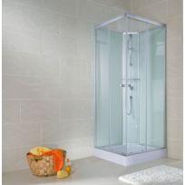 SCHULTE - Cabine de douche complète, 90 x 90 x 190 cm, cabine de douche intégrale avec portes coulissantes, verre transparent, ouverture vers la gauche, Corsica