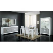 Modern Salon - Ensemble 7 éléments: laque blanc gris bahut + table 190 + vitrine 2 + chaises