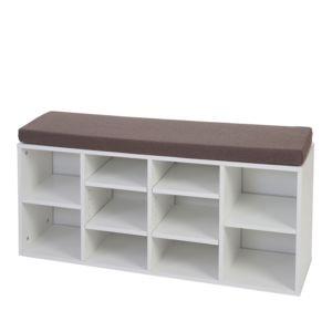 mendler banquette brisbane range chaussures tag re coussin 49x104x29cm blanc pas cher. Black Bedroom Furniture Sets. Home Design Ideas