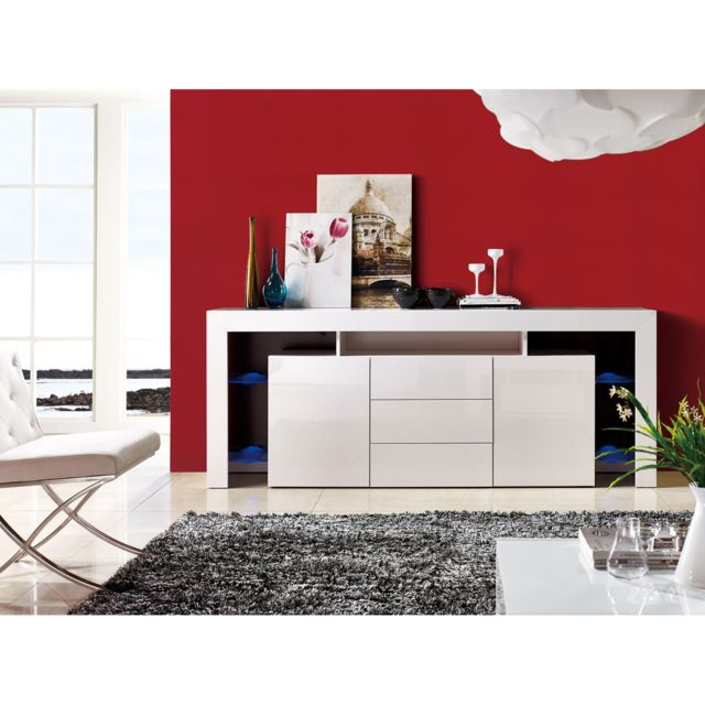 HABITAT ET JARDIN Buffet LED Lana - 200 x 42 x 86 cm - Blanc laqué
