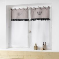 Charme & Douceur - Cdaffaires Paire droite a nouettes 2 x 60 x 160 cm polyester brode bonheur Taupe/Anthracite