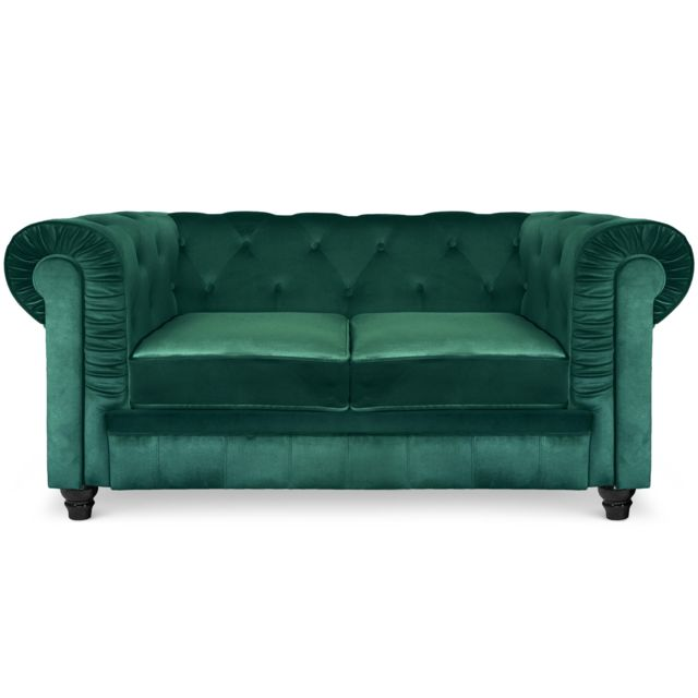 COTE COSY Grand canapé 2 places Chesterfield Velours Vert