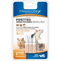 Francodex - Pipettes Insectifuges Pour Rat, Souris Et Hamster, 3 pipettes de 0,3 ml