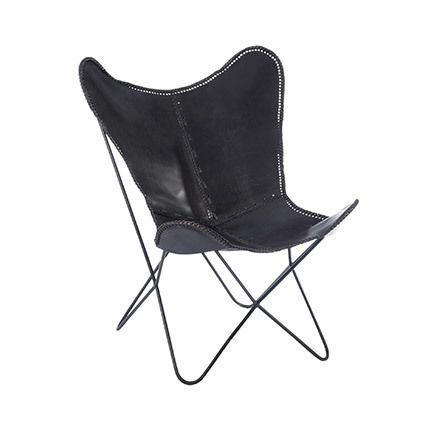 Chaise en cuir et métal 75x87x86cm - noir