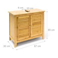 Meuble Dessous De Lavabo Evier Bambou Avec Deux Portes 3213061
