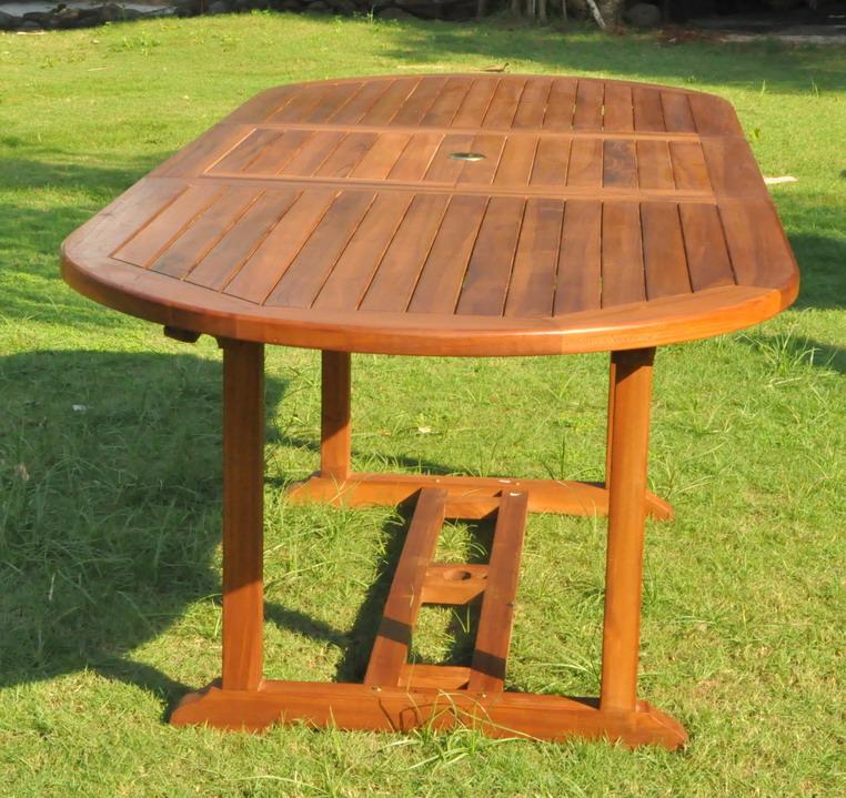 SALON DE JARDIN TECK MASSIF 6/8 PERS 6 Chaises + TABLE OVALE HUILEE