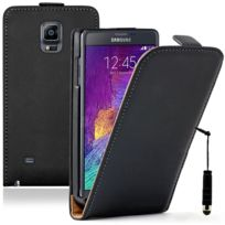 Vcomp - Housse Coque Etui Cuir Pu Vrai pour Samsung Galaxy Note 4 Sm-n910F/ Note 4 Duos Dual Sim, N9100/ Note 4 CDMA, / N910C N910W8 N910V N910A N910T N910M + mini stylet - Noir